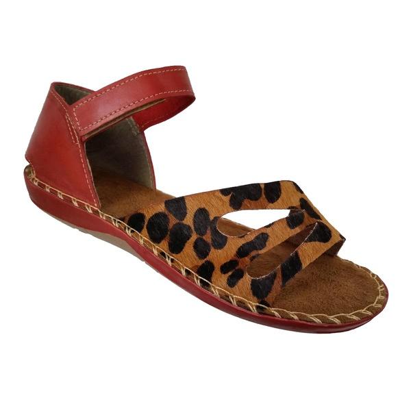 Sandália Avarca Feminina em Couro Vermelho / Leopardo