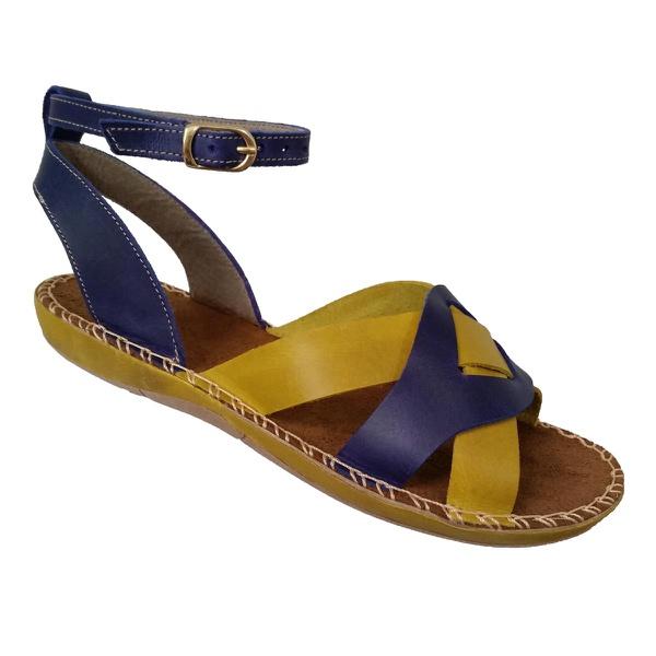 Sandália Feminina Avarca em Couro Amarelo e Azul Marinho