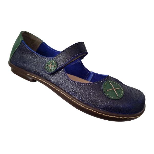 Sapatilha Feminina em Couro Azul c/ Verde