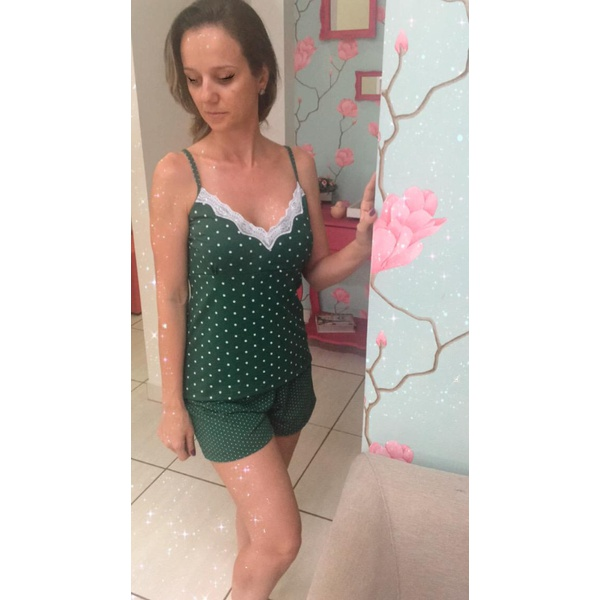 Pijama Curto de Alça Poá Verde