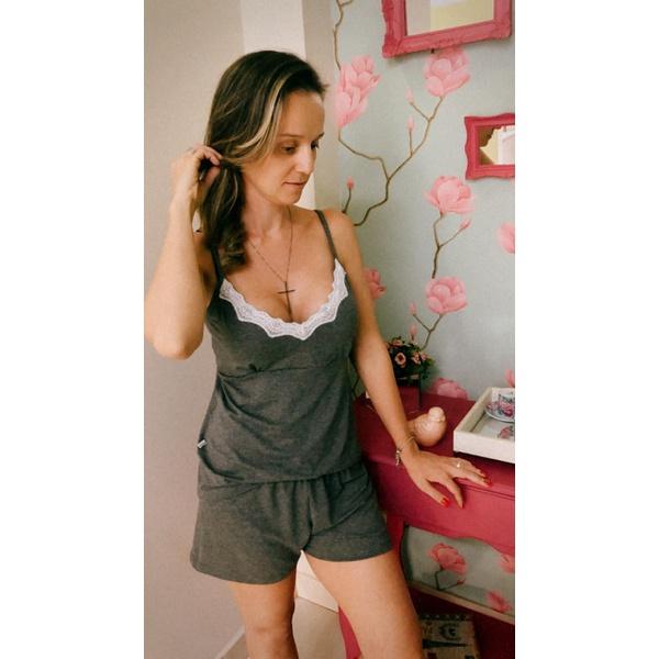 Pijama Curto de Alça Mescla Escuro
