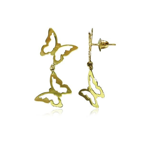 Brinco Borboletas Ouro 18k