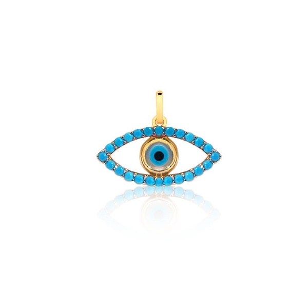 Pingente Olho Grego Ouro 18k c/ Turquesa