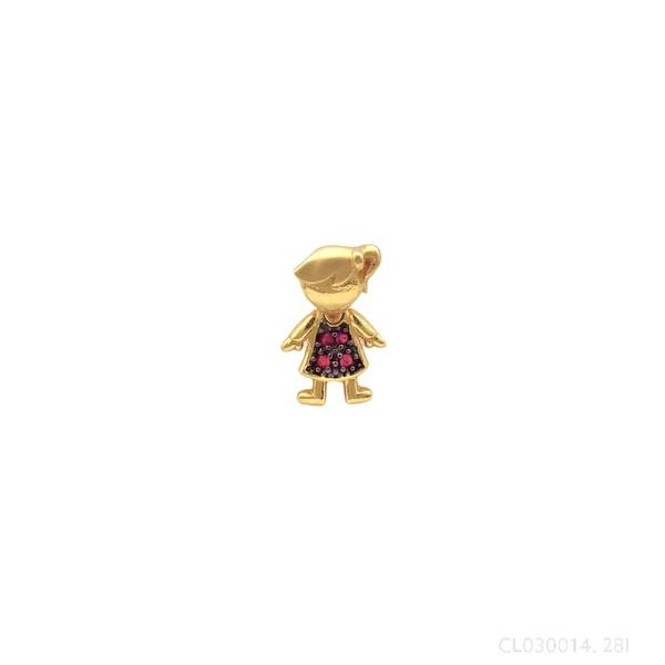Pingente Menina Vestido com Rubi em Ouro 18k