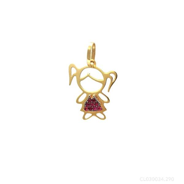 Pingente Menina Vazada Vestido Rubi em Ouro 18k