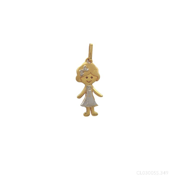 Pingente Menina Vestido com Brilhante em Ouro Bicolor 18k