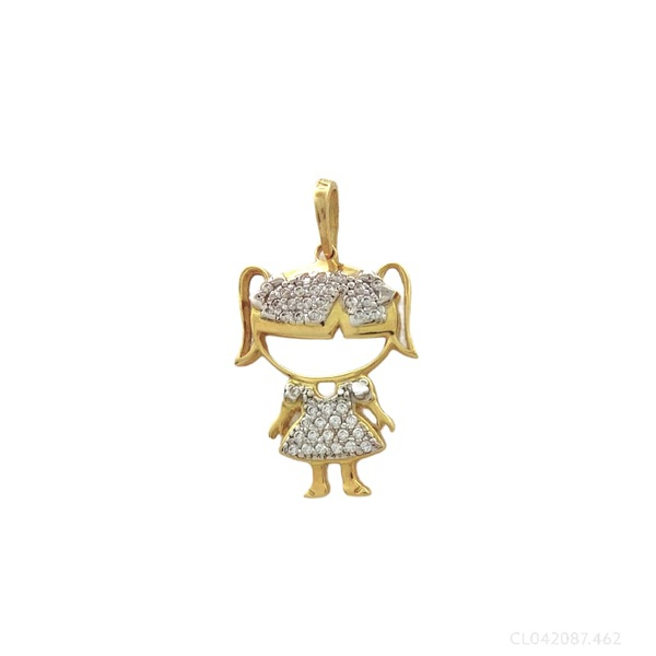Pingente Menina com Zirconias em Ouro Bicolor 18k