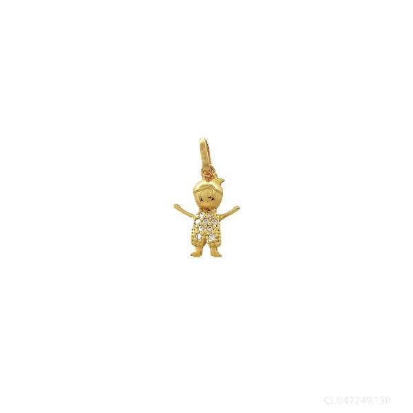 Pingente Menino com Zirconias em Ouro 18k