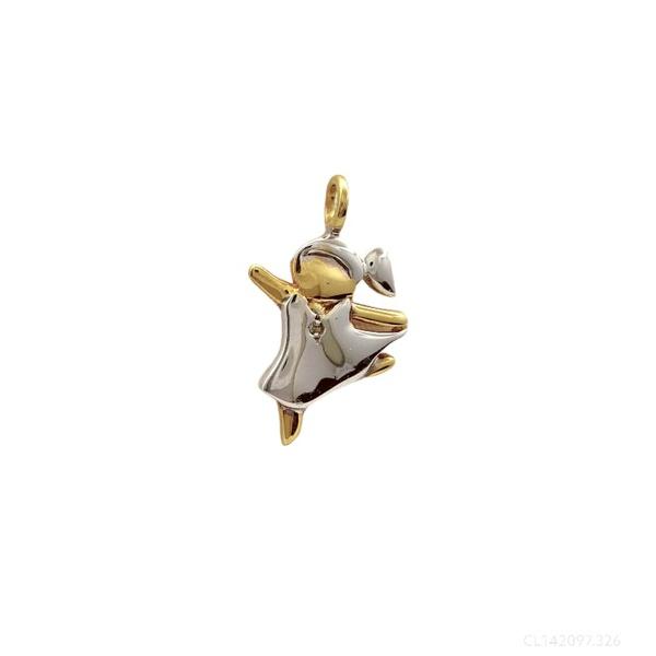 Pingente Menina Dançarina com Brilhante em Ouro18k