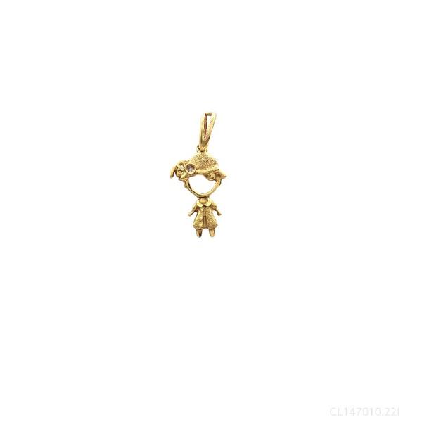 Pingente Menina com Chapéu Ouro Amarelo e Diamante