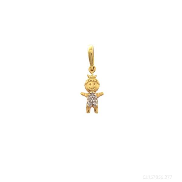Pingente Menino Coroa com Diamantes em Ouro