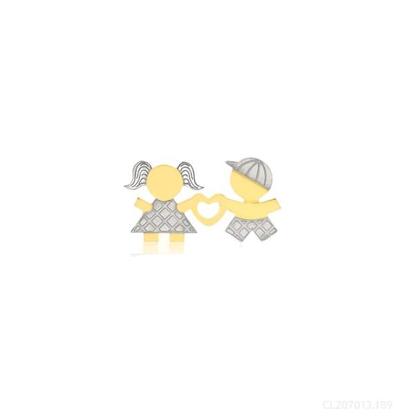 Pingente Casal Menina Menino Ouro Amarelo e Branco 18k