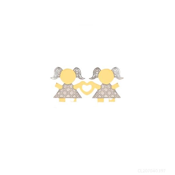 Pingente Casal Meninas Ouro Amarelo e Branco 18k