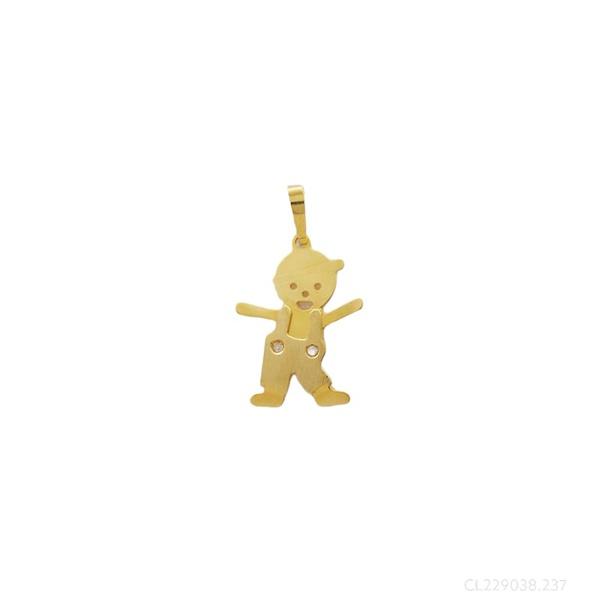 Pingente Menino Macacão com Brilhante em Ouro Amarelo 18k