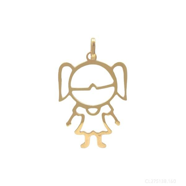 Pingente Menina Ouro Amarelo 18k
