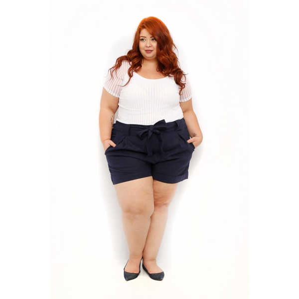 Blusa Listrada Transparência Branca - Plus Size