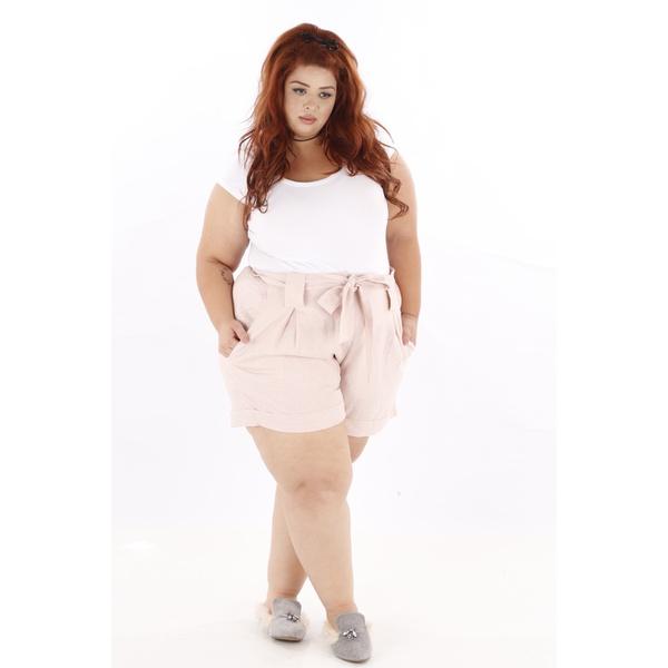 Short Clochard Linho Rosa Plus Size