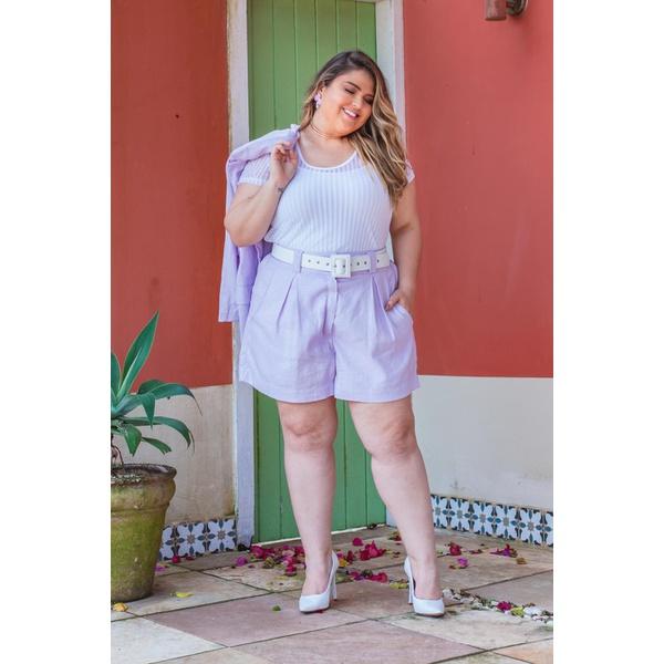 Short Linho Botões Lavanda - Plus Size