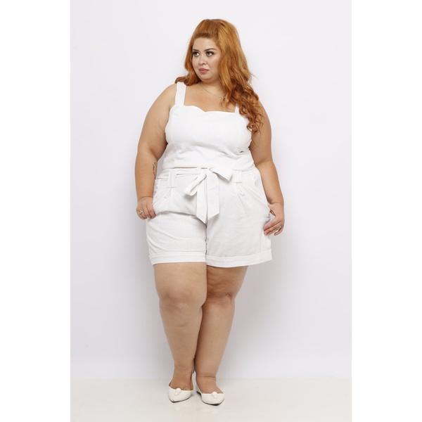 Top Linho Branco - Plus Size