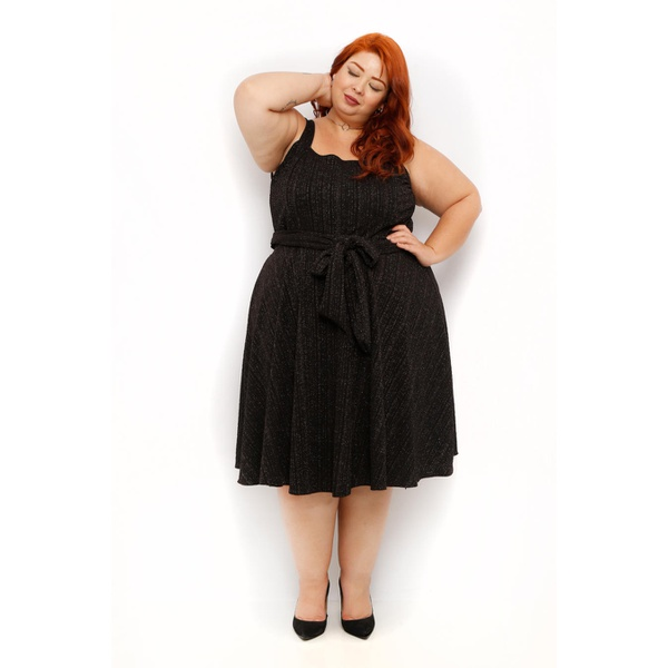 Vestido Malha Preto Brilho - Plus Size