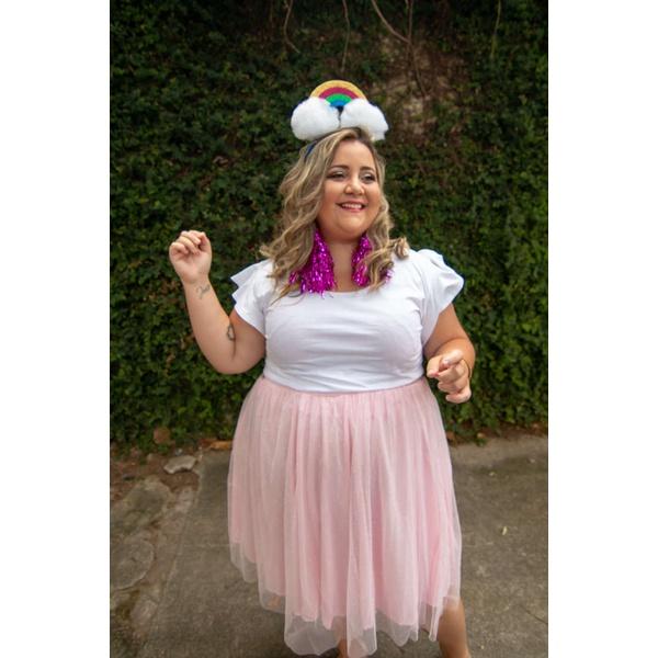 Saia Tule Glitter Rosa Fantasia - Plus Size