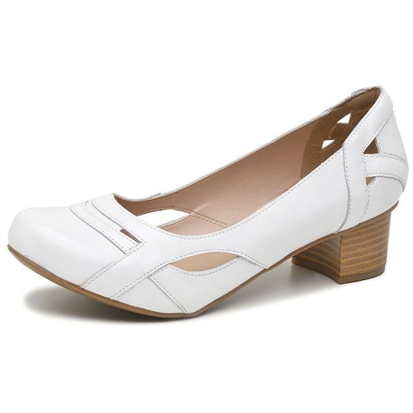 Sapato Feminino Linha Boneca Couro Legítimo Branco