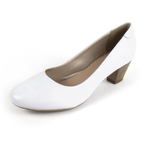 Sapato Feminino Em Couro Branco