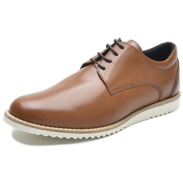 Sapato Casual Masculino D&R Shoes em Couro Legitimo Whisky