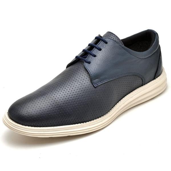 Sapatenis Casual Masculino D&R Shoes Em Couro Legitimo Marinho