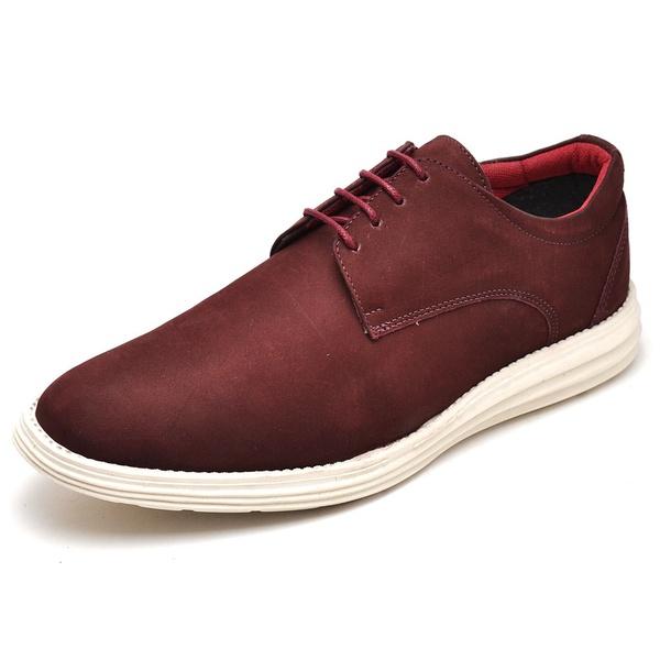 Sapatenis Casual Masculino D&R Shoes Em Couro Legitimo Bordo