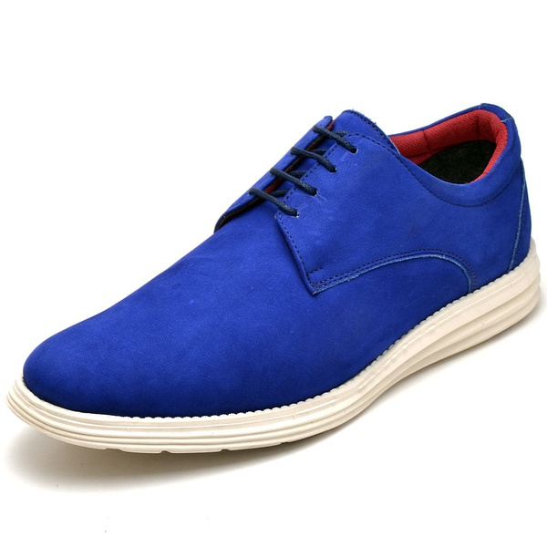 Sapatenis Casual Masculino D&R Shoes Couro Legitimo Azul Bic