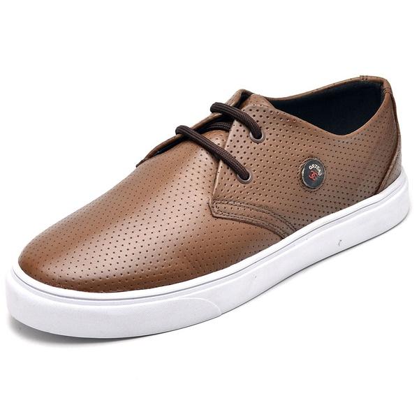 Tenis Casual Masculino D&R Shoes Couro Legitimo Pinhão