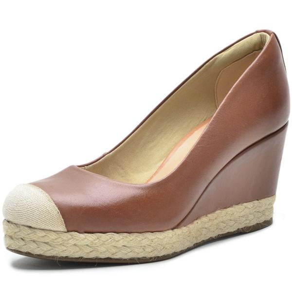 Sapato Feminino DeR Shoes Em Couro Legítimo Day By day Whisky