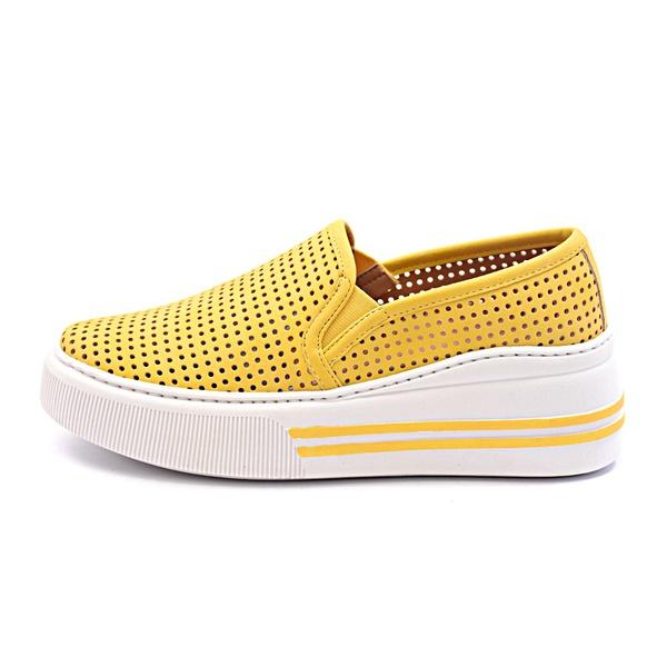 Tenis Feminino Casual Slip On Furadinho Amarelo