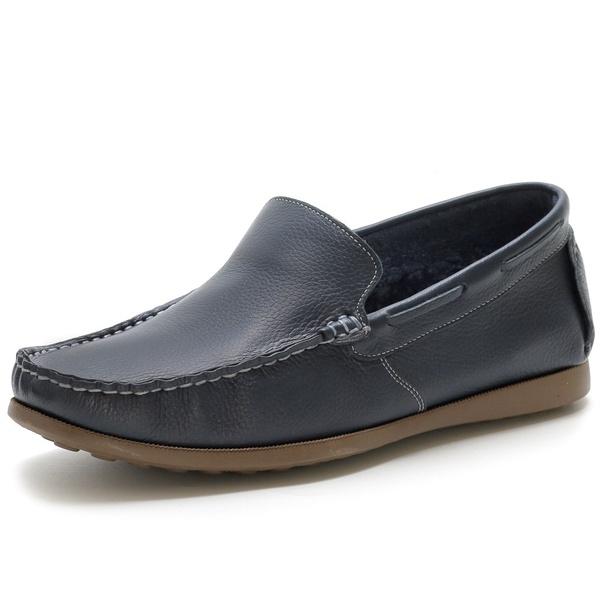 Sapato Mocassim Masculino Em Couro Legítimo Marinho