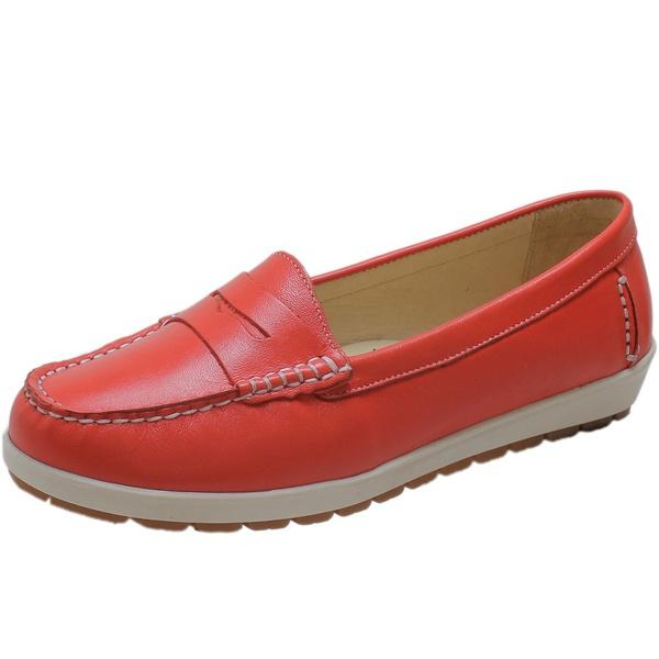 Sapato Feminino Mocassim Em Couro Legítimo Coral