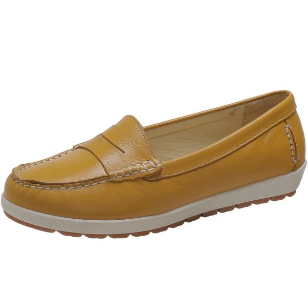Sapato Feminino Mocassim Em Couro Legítimo Mostarda