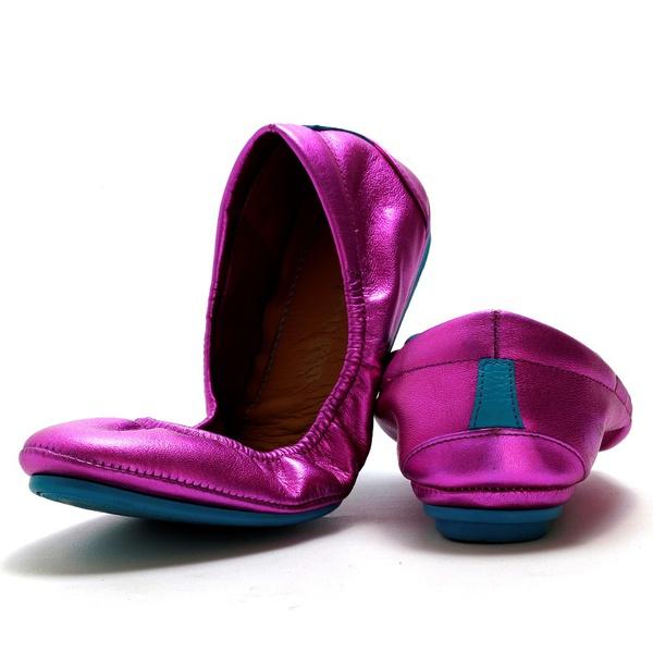 Sapatilha Dobrável Feminina Em Couro Legítimo Metalizado Pink