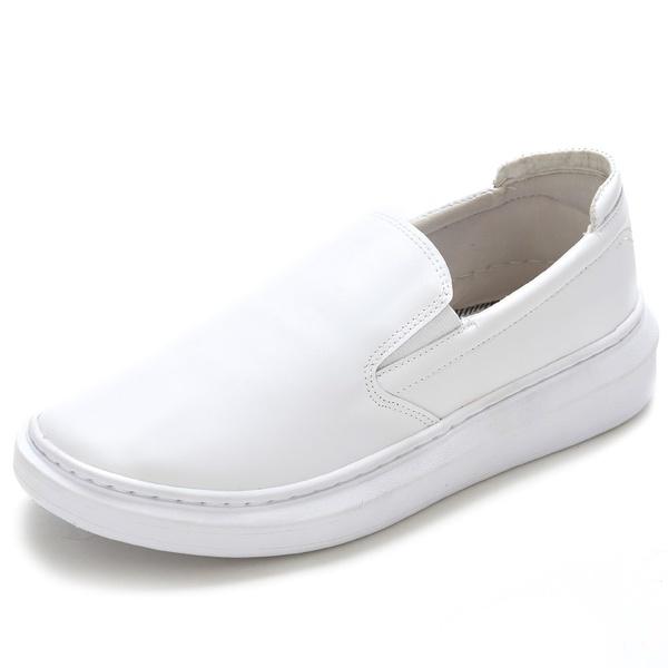 Sapato Slip On Prime Masculino Em Couro Legítimo Branco