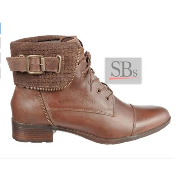 Bota Feminina Cano Curto Couro Legítimo Sb Shoes Ref.7028.