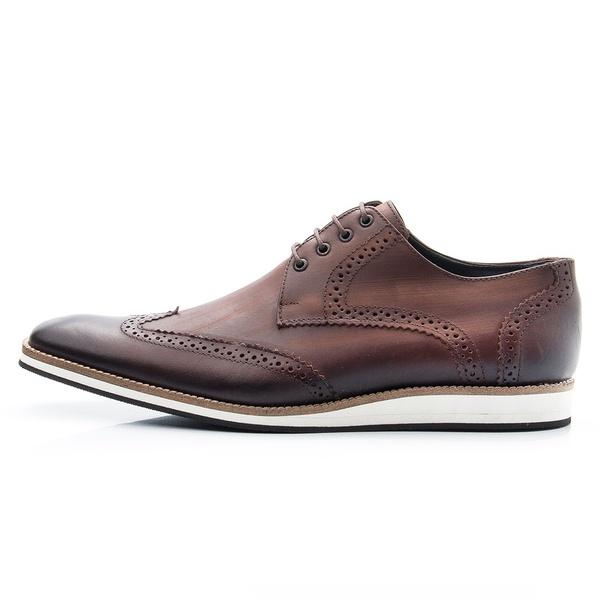 Sapato Oxford Casual Masculino em Couro Legitimo Cafe