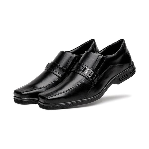 Sapato Social Masculino Bico Quadrado em Couro Sintetico Preto