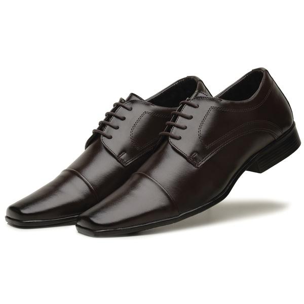 Sapato Social Masculino Em Couro Tecnológico Café
