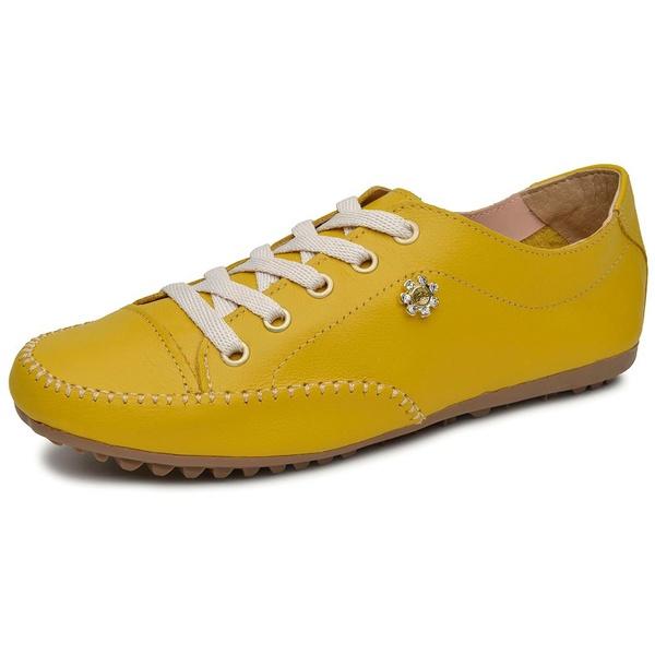 Sapatênis Tênis Casual Feminino Em Couro Legítimo Amarelo