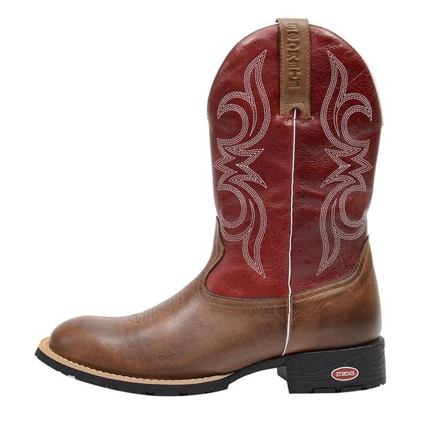 Bota Masculina Texana Country em Couro Legítimo Marrom Com Vermelho