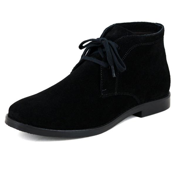 Bota Feminina Casual Desert Boots Chelsea em Couro Camurça Legítimo Preto