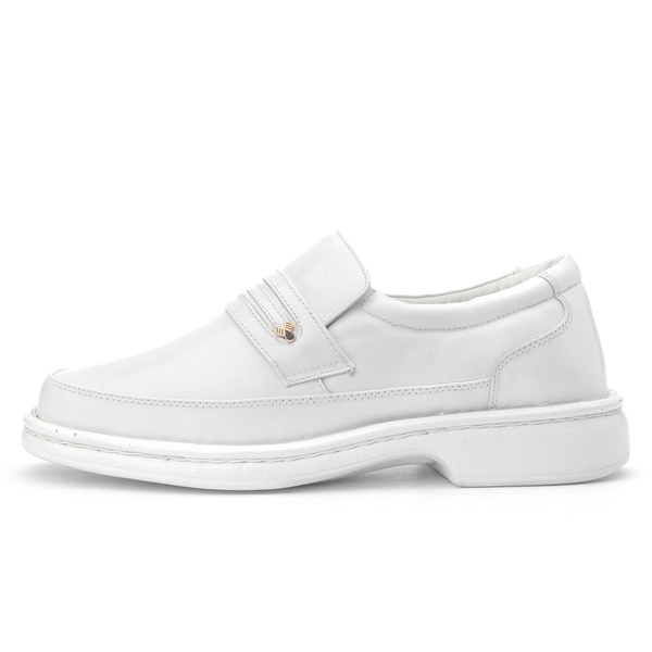Sapato Masculino Antistafa em Couro Legitimo Branco