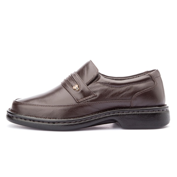 Sapato Masculino Antistafa em Couro Legitimo Café