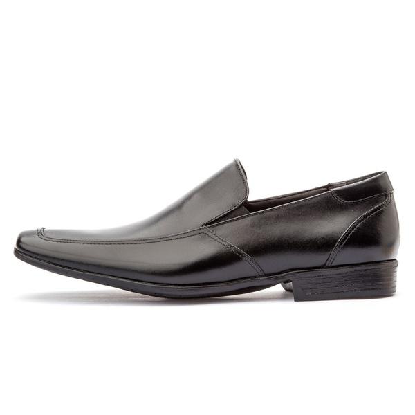Sapato Social Masculino Calce Fácil Em Couro Legítimo Preto