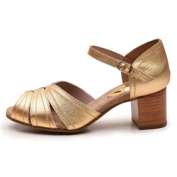 Sandália Feminina Retrô Bahamas Em Couro Legítimo Ouro Metalizado
